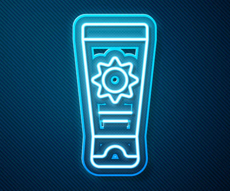 Glowing neon line Sunscreen cream in tube icon isolated on blue background. Protection for the skin from solar ultraviolet light. Vector Illustration