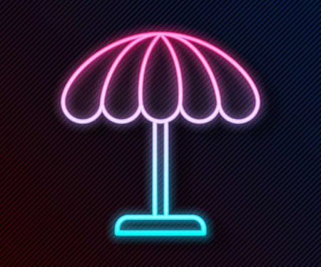 Glowing neon line Sun protective umbrella for beach icon isolated on black background. Large parasol for outdoor space. Beach umbrella. Vector Illustration