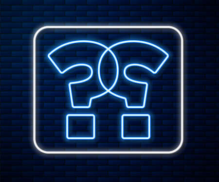 Glowing neon line Question mark icon isolated on brick wall background. FAQ sign. Copy files, chat speech bubble and chart. Vector