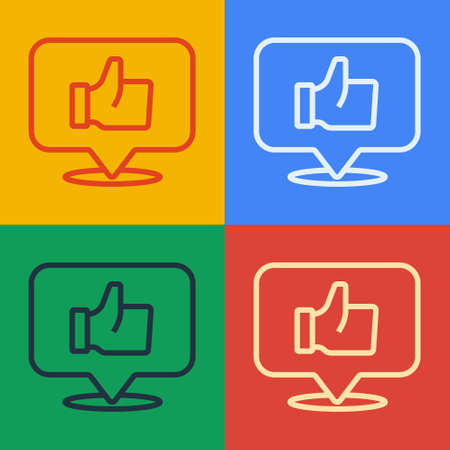 Pop art line Hand like icon isolated on color background. Vector