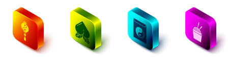 Set Isometric Yin Yang, Peach fruit, Yin Yang and envelope and Asian noodles in paper box and chopsticks icon. Vector