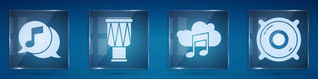 Set Musical note in speech bubble, Drum, Music streaming service and Stereo speaker. Square glass panels. Vector
