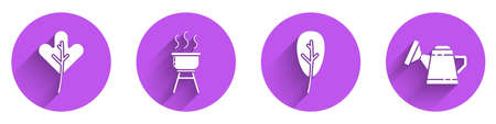 Set Leaf or leaves, Barbecue grill, Leaf or leaves and Watering can icon with long shadow. Vector Vettoriali