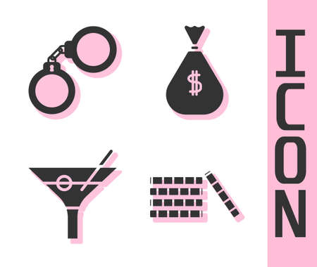 Set Casino chips, Handcuffs, Martini glass and Money bag icon. Vector