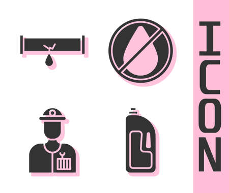 Set Container with drain cleaner, Broken pipe with leaking water, Plumber and Water drop forbidden icon. Vector