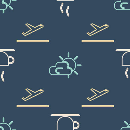 Set Isometric Coffee cup, Plane takeoff and Sun and cloud weather icon. Vector