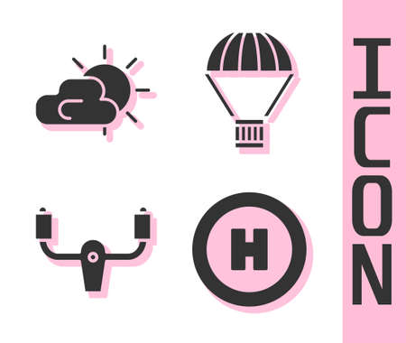 Set Helicopter landing pad, Sun and cloud weather, Aircraft steering helm and Box flying on parachute icon. Vector