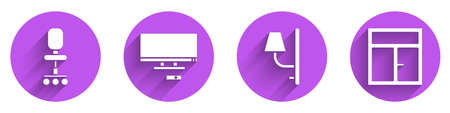 Set Office chair, Smart Tv, Wall sconce and Window in the room icon with long shadow. Vector