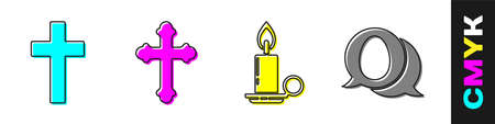 Set Christian cross, Christian cross, Burning candle in candlestick and Speech bubble with easter egg icon. Vector