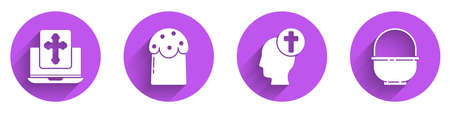 Set Cross on the laptop screen, Easter cake, Human head with christian cross and Basket icon with long shadow. Vector