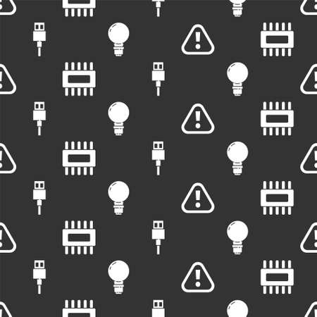 Set Exclamation mark in triangle, Processor with microcircuits CPU, USB cable cord and Light bulb with concept of idea on seamless pattern. Vector 矢量图像