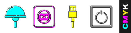 Set Light emitting diode, Electrical outlet, USB cable cord and Electric light switch icon. Vector 矢量图像