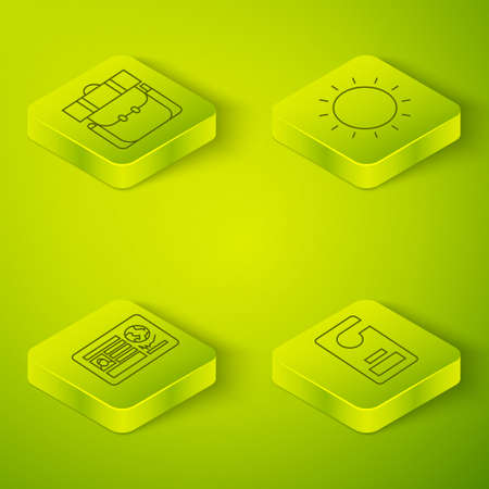 Set Isometric Sun, Passport with visa stamp, Please do not disturb and Hiking backpack icon. Vector