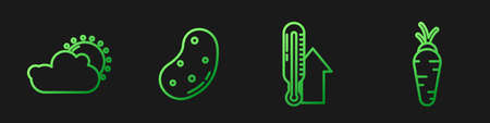 Set line Meteorology thermometer, Sun and cloud weather, Potato and Carrot. Gradient color icons. Vector Vettoriali