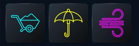 Set line Wheelbarrow with dirt, Wind and Umbrella. Black square button. Vector Vettoriali