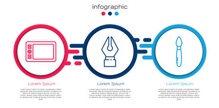 Set line Graphic tablet, Fountain pen nib and Paint brush. Business infographic template. Vector