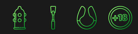 Set line Dildo vibrator, Condom, Leather whip and Plus 18 movie. Gradient color icons. Vector Vectores