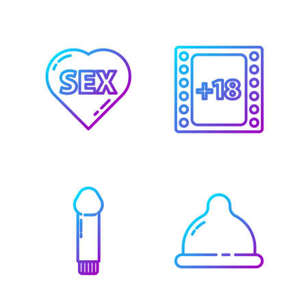 Set line Condom, Dildo vibrator, Heart with text Sex and Play Video with 18 plus content. Gradient color icons. Vector