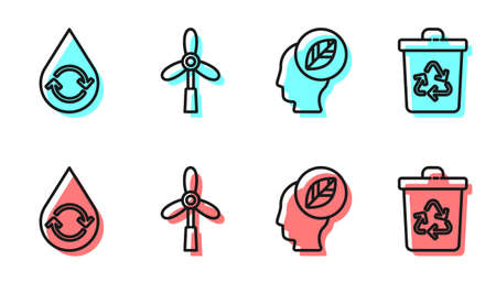 Set line Human head with leaf inside, Recycle clean aqua, Wind turbine and Recycle bin with recycle icon. Vector