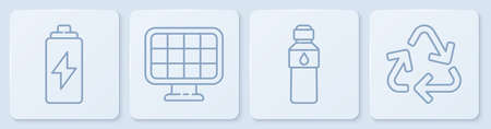 Set line Battery, Bottle of water, Solar energy panel and Recycle symbol. White square button. Vector