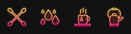 Set line Cup of tea with tea bag, Cotton swab for ears, Water drop and Kettle handle. Glowing neon icon. Vector  イラスト・ベクター素材