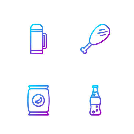 Set line Bottle of water, Bag or packet potato chips, flask container and Chicken leg. Gradient color icons. Vector
