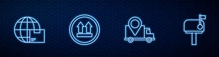 Set line Delivery tracking, Worldwide shipping and box, This side up and Mail. Glowing neon icon on brick wall. Vector