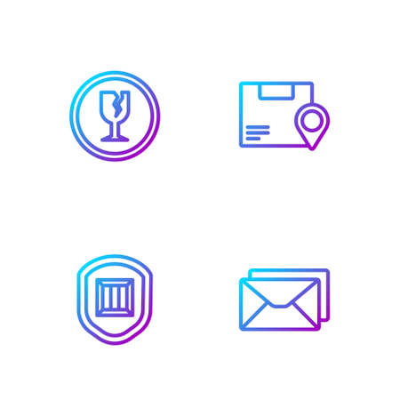 Set line Envelope, Delivery security with shield, Fragile broken glass and Location cardboard box. Gradient color icons. Vector