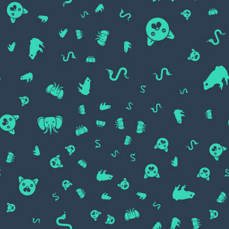 Set Snake, Cat, Elephant and Frog on seamless pattern. Vector