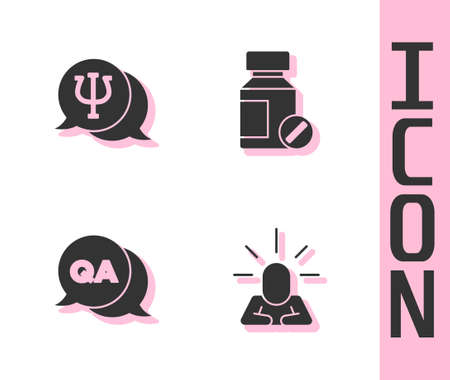 Set Depression, Psychology, Psi, Question and Answer and Sedative pills icon. Vector
