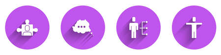 Set Project team base, Speech bubble chat, User of man in business suit and Head hunting icon with long shadow. Vector