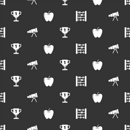 Set Abacus, Telescope, Award cup and Apple on seamless pattern. Vector