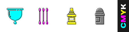 Set Menstrual cup, Cotton swab for ears, Mouthwash bottle and Antiperspirant deodorant roll icon. Vector.