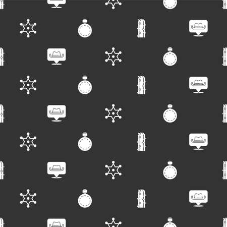 Set Cactus, Location cowboy, Hexagram sheriff and Canteen water bottle on seamless pattern. Vector
