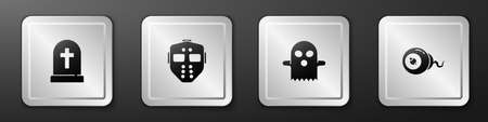 Set Tombstone with cross, Hockey mask, Ghost and Eye icon. Silver square button. Vector
