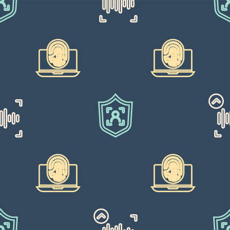 Set line Voice recognition, Laptop with fingerprint and Shield face on seamless pattern. Vector  イラスト・ベクター素材