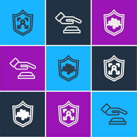Set line Shield face recognition, voice and Palm print icon. Vector