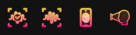 Set line Mobile with fingerprint scan, Voice recognition, and Face. Glowing neon icon. Vector