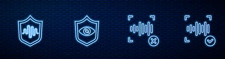 Set line Rejection voice recognition, Shield, eye scan and Voice. Glowing neon icon on brick wall. Vector  イラスト・ベクター素材