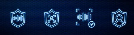 Set line Voice recognition, Shield voice, face and User protection. Glowing neon icon on brick wall. Vector