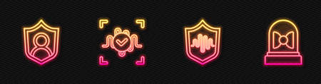 Set line Shield voice recognition, User protection, Voice and Motion sensor. Glowing neon icon. Vector  イラスト・ベクター素材