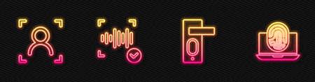 Set line Fingerprint door lock, Face recognition, Voice and Laptop with fingerprint. Glowing neon icon. Vector