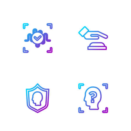 Set line Face recognition, User protection, Voice and Palm print. Gradient color icons. Vector