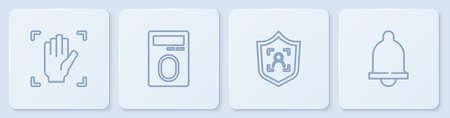 Set line Palm print recognition, Shield face, Fingerprint with lock and Motion sensor. White square button. Vector