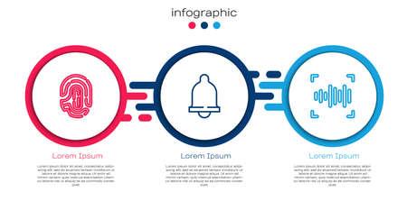 Set line Fingerprint, Motion sensor and Voice recognition. Business infographic template. Vector