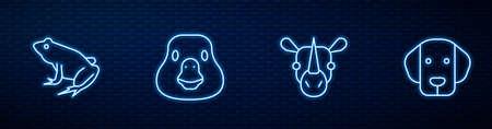 Set line Rhinoceros, Frog, Goose bird and Dog. Glowing neon icon on brick wall. Vector