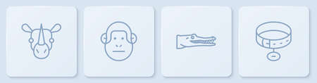 Set line Rhinoceros, Crocodile, Monkey and Collar with name tag. White square button. Vector