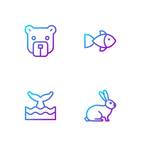 Set line Rabbit, Whale tail in ocean wave, Bear head and Fish. Gradient color icons. Vector.  イラスト・ベクター素材