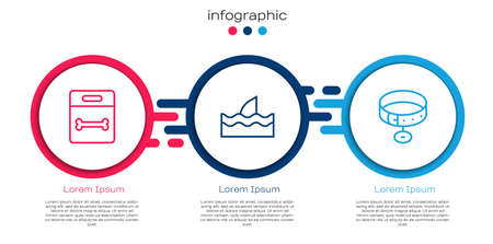 Set line Dog bone, Shark fin in ocean wave and Collar with name tag. Business infographic template. Vector