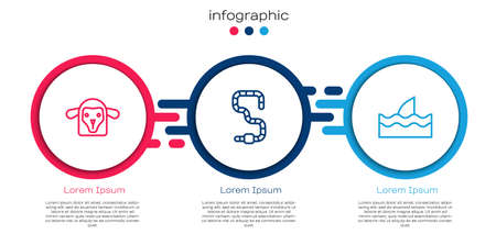 Set line Sheep head, Worm and Shark fin in ocean wave. Business infographic template. Vector